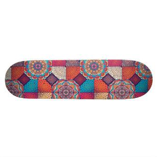Colorful patchy mandala floral ornament pattern skateboard