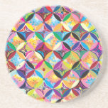 """Colorful Pattern Creation """"Athena"""" Drink Coaster"""
