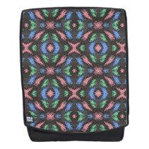 Colorful pattern design on black backpack