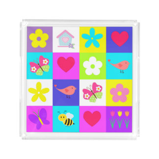 colorful pattern design small perfume tray square serving trays