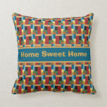 Colorful Pattern Geometric Retro Squares Throw Pillow