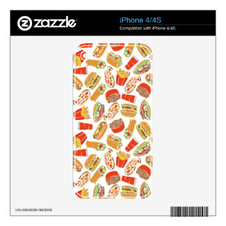 Colorful Pattern Illustration Fast Food iPhone 4 Decal