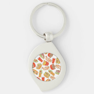 Colorful Pattern Illustration Fast Food Keychain