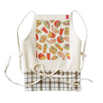Colorful Pattern Illustration Fast Food Zazzle HEART Apron