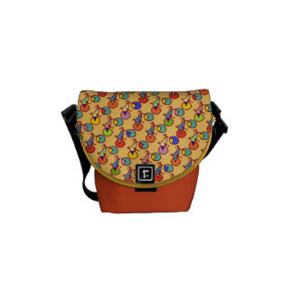 colorful pattern of bikes courier bag