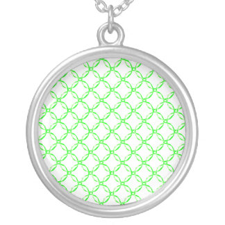 Colorful pattern of circles with white glasing round pendant necklace