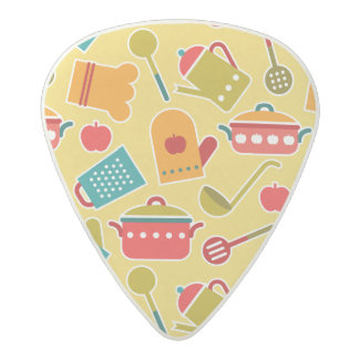 Colorful pattern of kitchen utensils acetal guitar pick