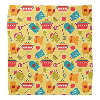 Colorful pattern of kitchen utensils bandana