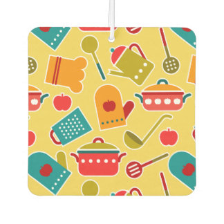 Colorful pattern of kitchen utensils car air freshener
