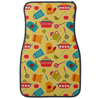 Colorful pattern of kitchen utensils car floor mat