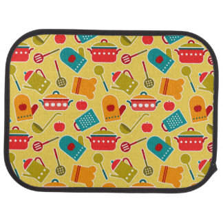 Colorful pattern of kitchen utensils car mat