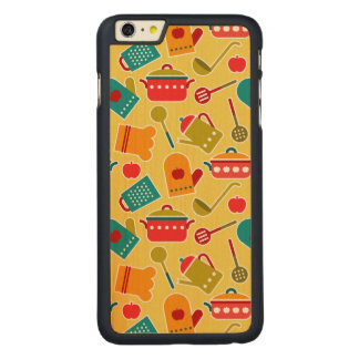 Colorful pattern of kitchen utensils carved maple iPhone 6 plus slim case
