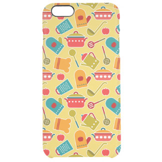 Colorful pattern of kitchen utensils clear iPhone 6 plus case