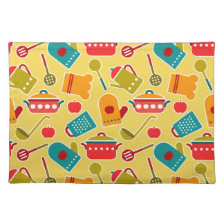 Colorful pattern of kitchen utensils cloth placemat