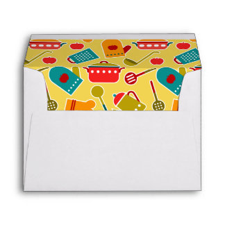 Colorful pattern of kitchen utensils envelope
