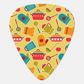 Colorful pattern of kitchen utensils guitar pick