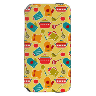 Colorful pattern of kitchen utensils iPhone 6/6s wallet case