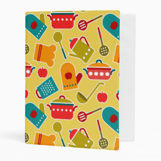 Colorful pattern of kitchen utensils mini binder