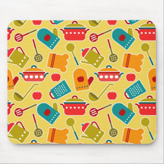 Colorful pattern of kitchen utensils mouse pad