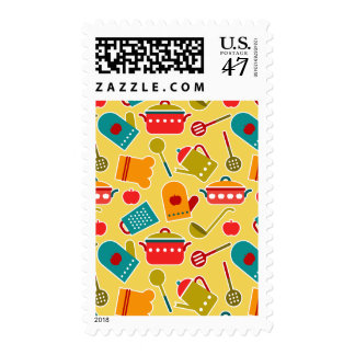 Colorful pattern of kitchen utensils postage