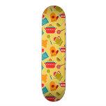 Colorful pattern of kitchen utensils skate board decks