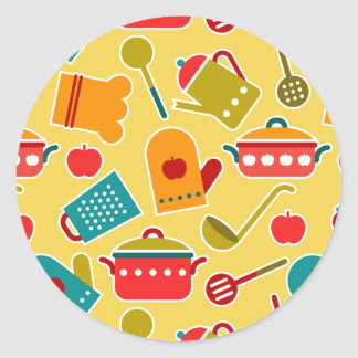 Colorful pattern of kitchen utensils stickers