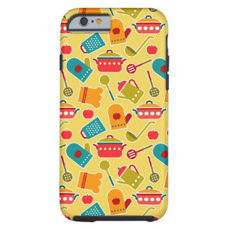 Colorful pattern of kitchen utensils tough iPhone 6 case