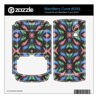 Colorful pattern on black BlackBerry decals