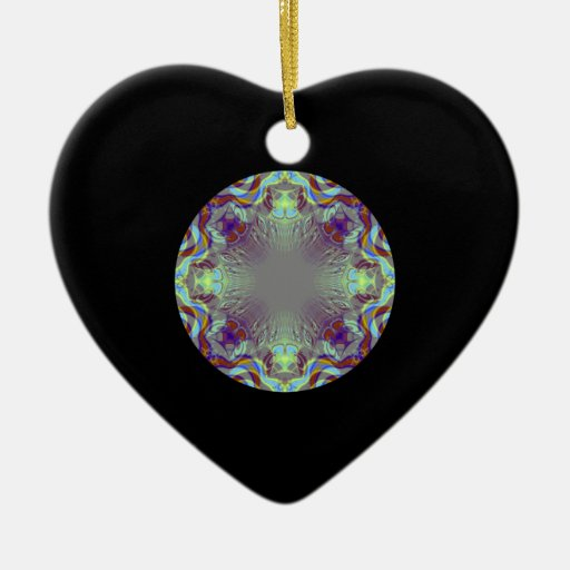 Colorful pattern. Double-Sided heart ceramic christmas ornament