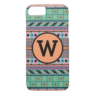 Colorful Pattern (Personalize Monogram Letter) iPhone 7 Case