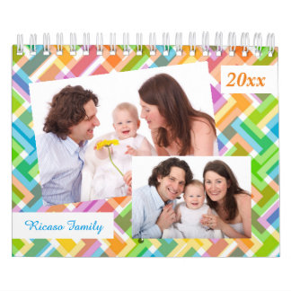 Colorful Pattern Personalized 18 Photo Template Calendar