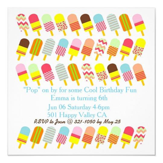 colorful pattern popsicle cool party invitation zazzle com