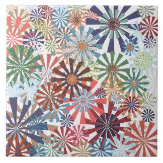 Colorful Pattern Radial Burst Pinwheel Design Ceramic Tile