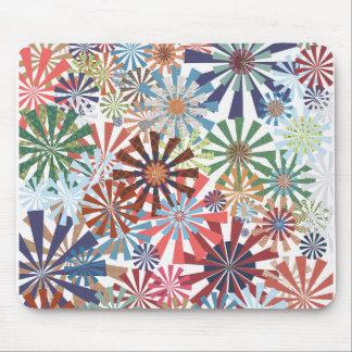 Colorful Pattern Radial Burst Pinwheel Design Mousepads