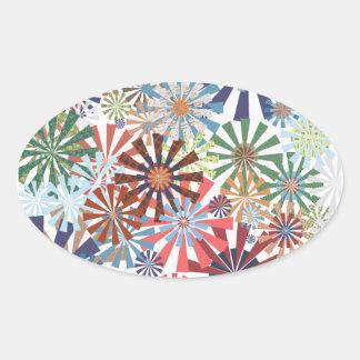 Colorful Pattern Radial Burst Pinwheel Design Oval Sticker