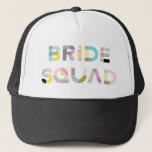 """Colorful Pattern Typography Modern Bride Squad Hat<br><div class=""""desc"""">Festive trucker hat featuring BRIDE SQUAD in colorful modern typography with mixed patterns. This will be perfect for bridal showers and bachelorette parties. Matching items are available.</div>"""