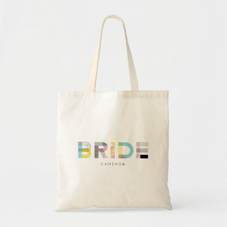Colorful Pattern Typography Modern Bride Tote Bag