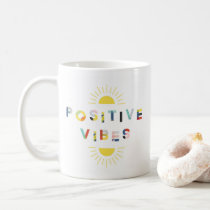 Colorful Pattern Typography Positive Vibes Modern Coffee Mug