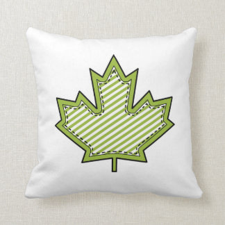 Colorful Patterned Maple Leaf on White Cushion Throw Pillow