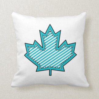 Colorful Patterned Maple Leaf on White Cushion Throw Pillows