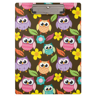 Colorful Patterned Owls and Flowers Clipboard