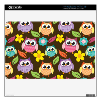 Colorful Patterned Owls and Flowers Decal For The MacBook