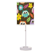 Colorful Patterned Owls and Flowers Desk Lamp