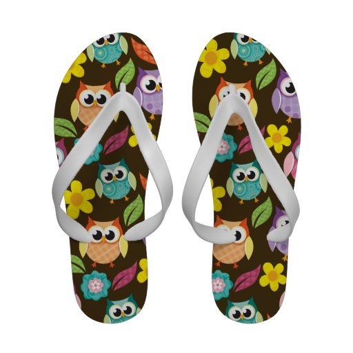 Colorful Patterned Owls and Flowers Flip-Flops