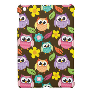 Colorful Patterned Owls and Flowers iPad Mini Cases