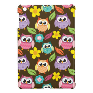 Colorful Patterned Owls and Flowers iPad Mini Cover