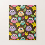 Colorful Patterned Owls and Flowers Jigsaw Puzzle