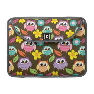 Colorful Patterned Owls and Flowers MacBook Pro Sleeve