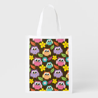 Colorful Patterned Owls and Flowers Market Totes
