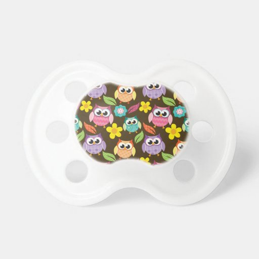Colorful Patterned Owls and Flowers Pacifier